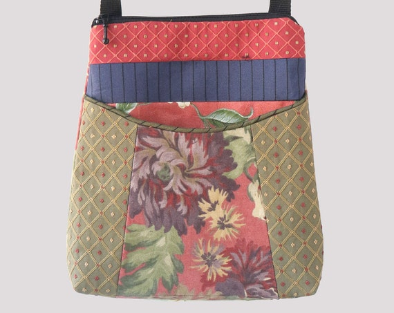 Beige and Floral Tapestry Adjustable Bag in Coral and sage Floral Upholstery Fabric