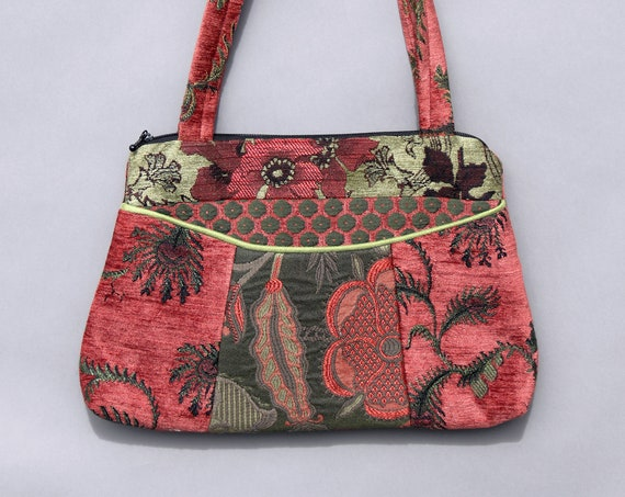 Melon Medium Nancie Purse in Orange and Sage Floral Jacquard Upholstery Fabric