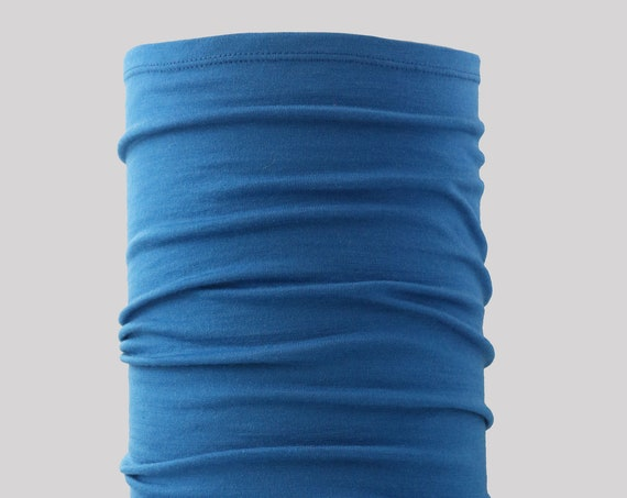 Lightweight Merino Neck Gaiter, Head Band and Face Covering in True Blue