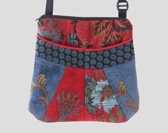 Medium Tapestry Adjustable Alyssa Purse in  Blue and Red Floral Upholstery Fabric