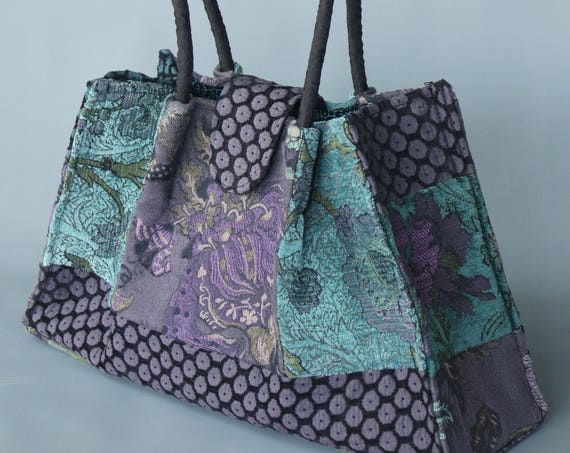 Seamist Tapestry Shoulder Bag in Aqua, Green and Purple Floral Jacquard Woven Fabrics