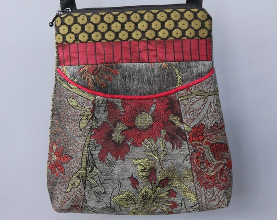 Slate Tapestry Adjustable Bag in Red and Gray Floral Jacquard Upholstery Fabric Large