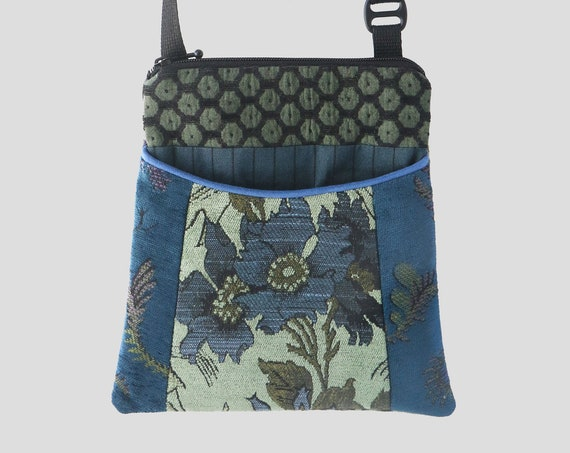 Adjustable Purse in Chartreuse and Blue Floral Jacquard Upholstery Fabric- One of a Kind!
