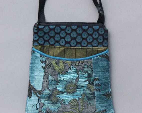 Pewter Adjustable Purse in Aqua and Gray Floral Jacquard Upholstery Fabric