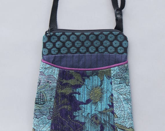 Plum Tapestry Adjustable Purse in Purple and Aqua Floral Jacquard Upholstery Fabric