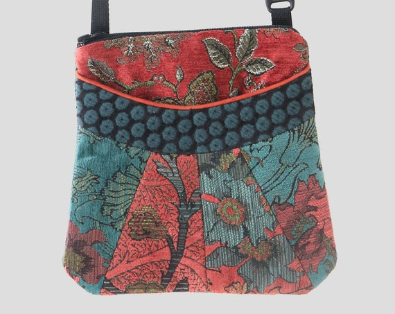 Medium Tapestry Adjustable Alyssa Purse in Rust and Teal Floral Upholstery Fabric
