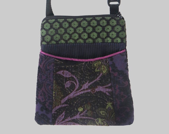 Adjustable Purse in Purple and Black Floral Jacquard Upholstery Fabric- One of a Kind!