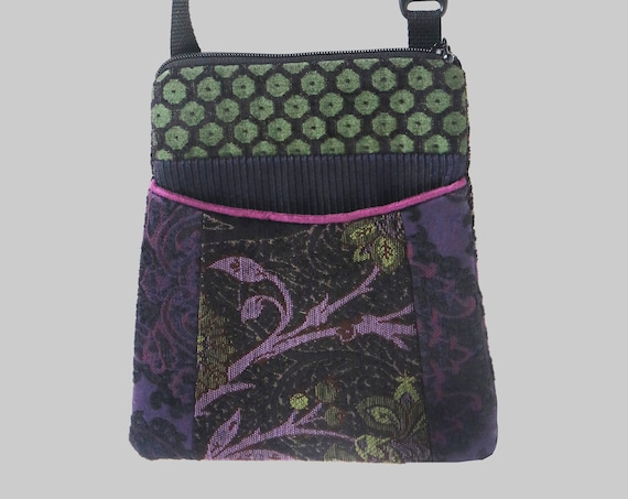 Adjustable Purse in Purple and Blue Floral Jacquard Upholstery Fabric- One of a Kind!