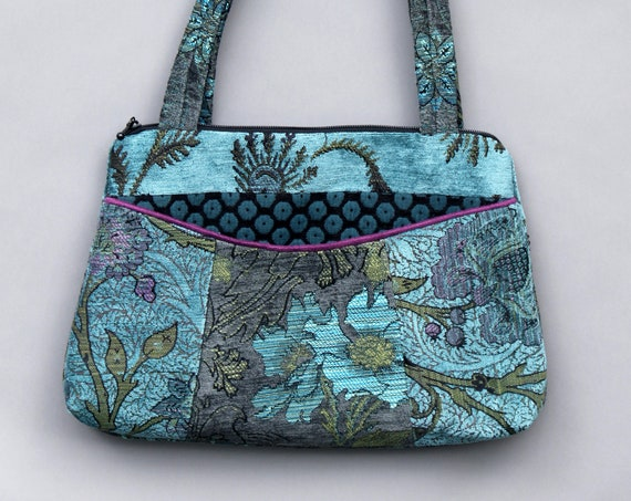Pewter Medium Nancie Purse in Gray and Aqua Floral Jacquard Upholstery Fabric
