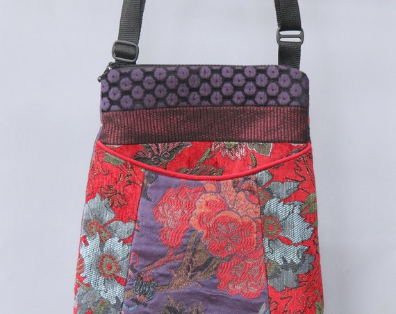 Poppy Tapestry Adjustable Bag in Red and Purple Floral Jacquard Upholstery Fabric