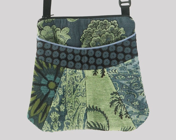 Limoges Medium Tapestry Adjustable Alyssa Purse in Green and Blue Floral Upholstery Fabric
