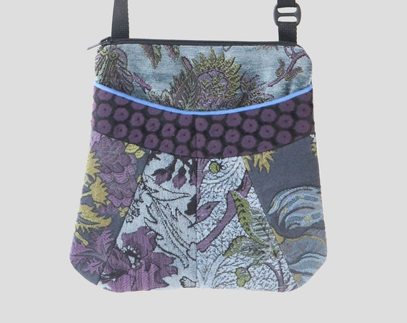 Medium Tapestry Adjustable Alyssa Purse in Blue and Purple Floral Upholstery Fabric
