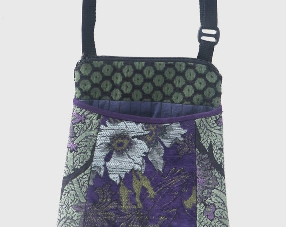 Highlands  Tapestry Adjustable Purse in Purple and Green Floral Jacquard Upholstery Fabric