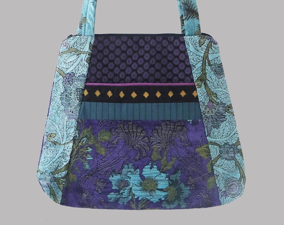 Tapestry Tote Bag in Plum and Aqua Floral Upholstery Fabric Large- One of a Kind!
