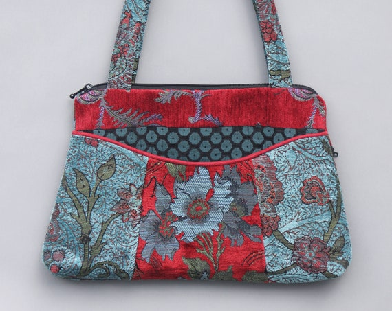Red Wine Medium Nancie Purse in Red and Aqua Floral Jacquard Upholstery Fabric