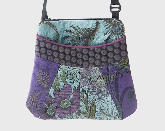 Seamist Medium Tapestry Adjustable Alyssa Purse in Aquamarine and Purple Floral Upholstery Fabric