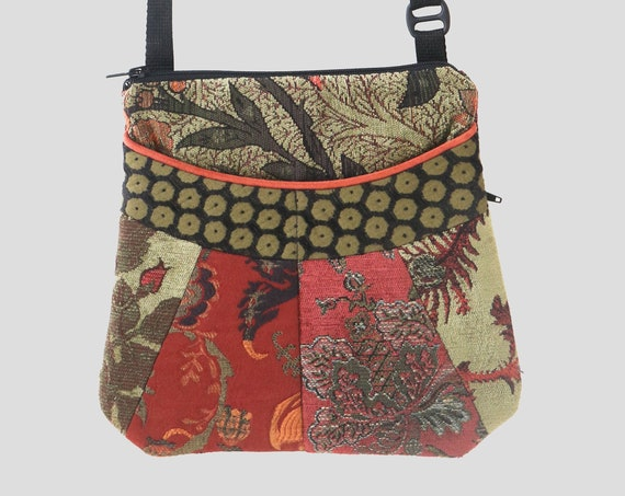 Medium Tapestry Adjustable Alyssa Purse in Rust and Moss Green Floral Upholstery Fabric