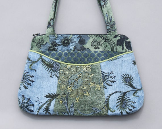 Dusk Medium Nancie Purse in Blue and Green Floral Jacquard Upholstery Fabric