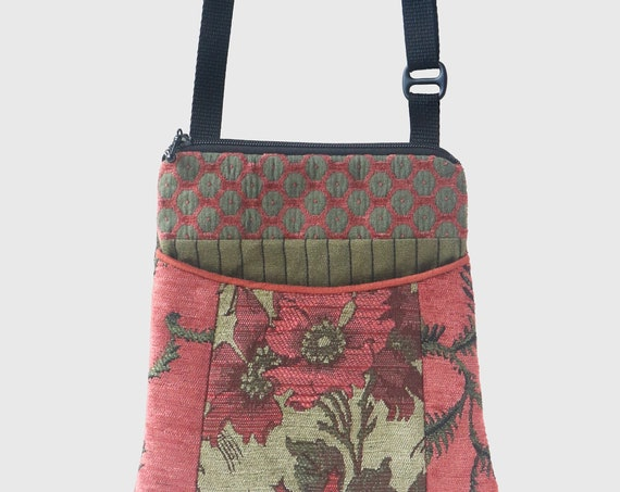 Melon Tapestry Adjustable Purse in Salmon and Sage Jacquard Upholstery Fabric