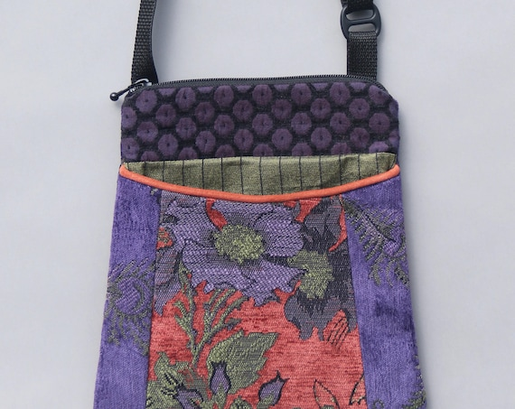 Rust Lavender Adjustable Purse in Orange and Purple Floral Jacquard Upholstery Fabric