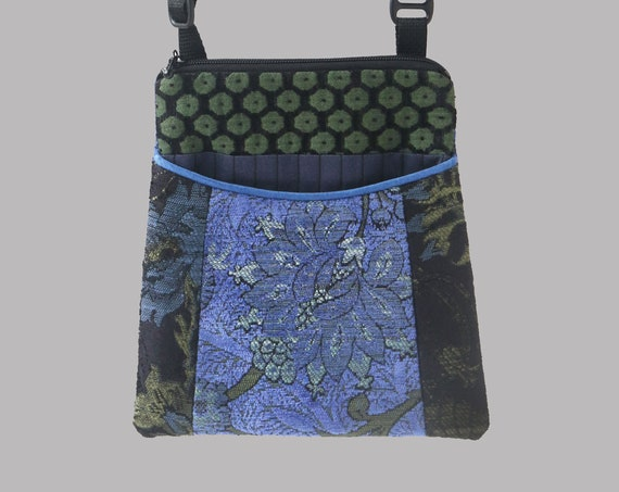 Adjustable Purse in Indigo and Black Floral Jacquard Upholstery Fabric