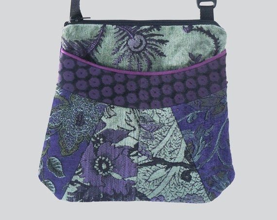 Medium Tapestry Adjustable Alyssa Purse in Hyacinth and Green Floral Upholstery Fabric