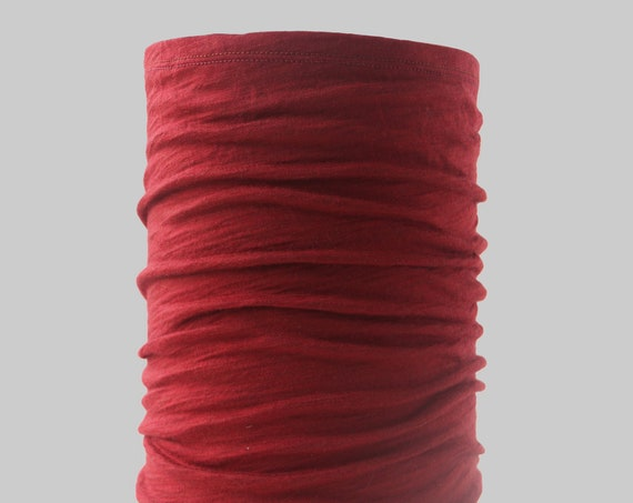Lightweight Merino Neck Gaiter, Head Band and Face Covering in Cranberry