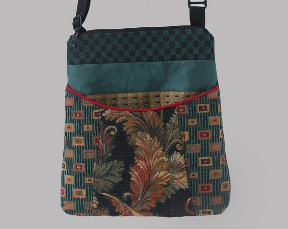 Teal Carnival Tapestry Adjustable Bag in Teal and Black Floral Upholstery Fabric