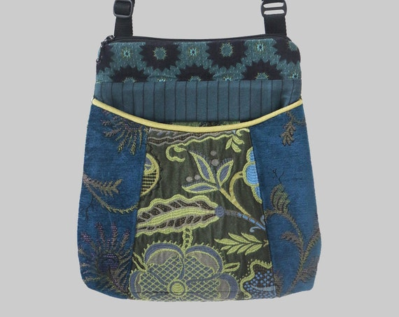 Tapestry Adjustable Bag in Blue and Green Floral Jacquard Upholstery Fabric- One of a Kind