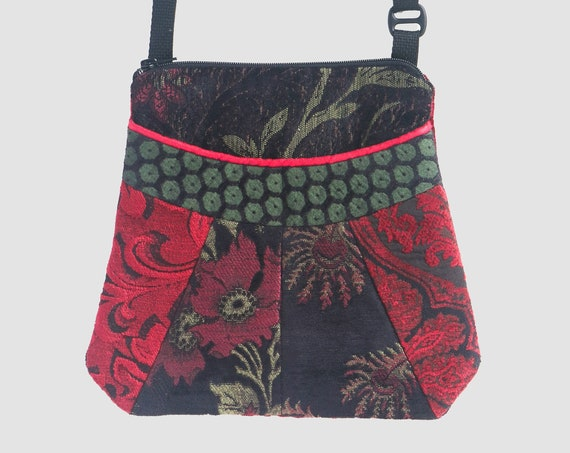 Madeira Medium Tapestry Adjustable Alyssa Purse in Black and Red Floral Upholstery Fabric