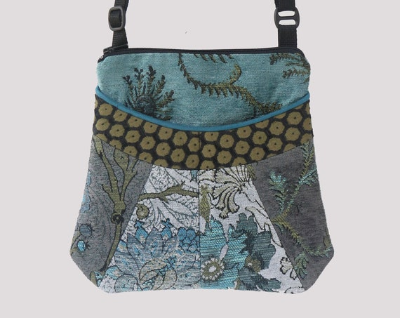 Pewter Medium Tapestry Adjustable Alyssa Purse in Aqua and Gray Floral Upholstery Fabric