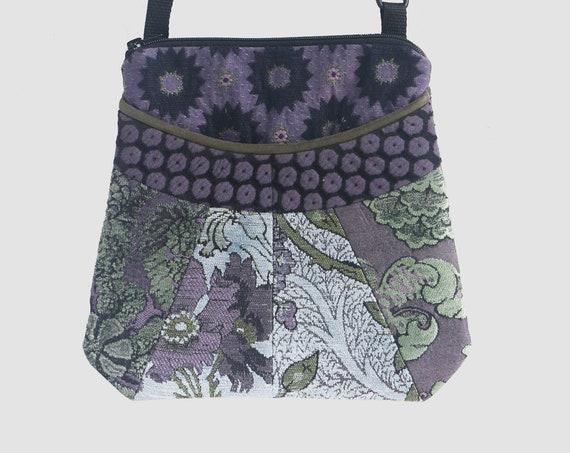 Medium Tapestry Adjustable Alyssa Purse in Silver and Lavender