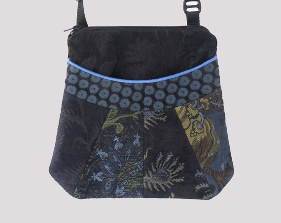 Blueberry Medium Tapestry Adjustable Alyssa Purse in Black and Blue Floral Upholstery Fabric