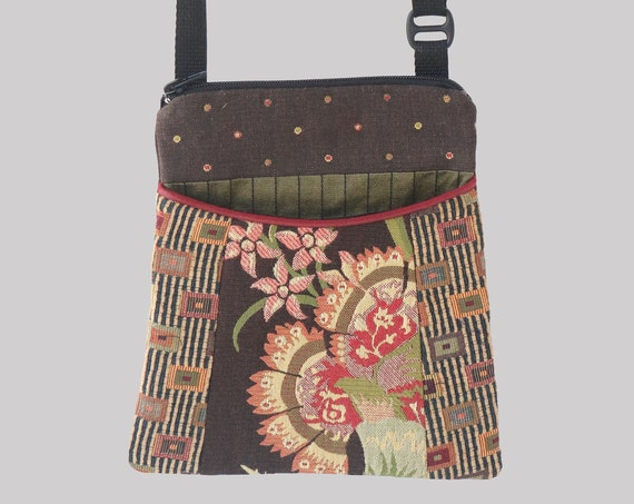 Tapestry Adjustable Purse in Chocolate and Beige Floral and Geometric Jacquard Upholstery Fabric