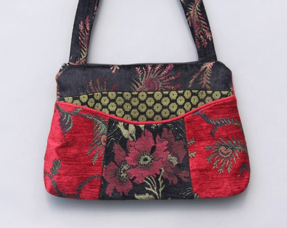 Madeira Medium Nancie Purse in Red and Black Floral Jacquard Upholstery Fabric