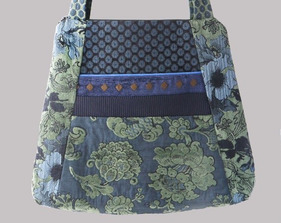 Larkspur Tote Bag in Blue and Green Floral Jacquard Upholstery Fabric Large