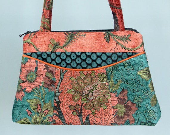 Zinnia Medium Nancie Purse in Rust and Teal Floral Jacquard Upholstery Fabric