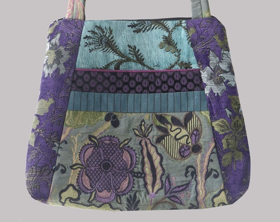 Aquamarine Tapestry Tote Bag in Purple and Aqua Floral Jacquard Upholstery Fabric Large