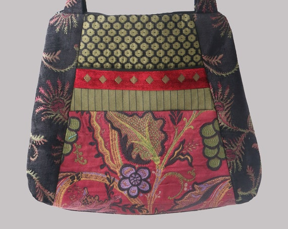 Merlot Tapestry Tote Bag in Red, Black, and Sage Floral Jacquard Upholstery Fabric Large