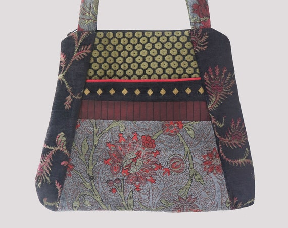 Slate Tapestry Tote Bag in Gray and Red Floral Upholstery Fabric Large