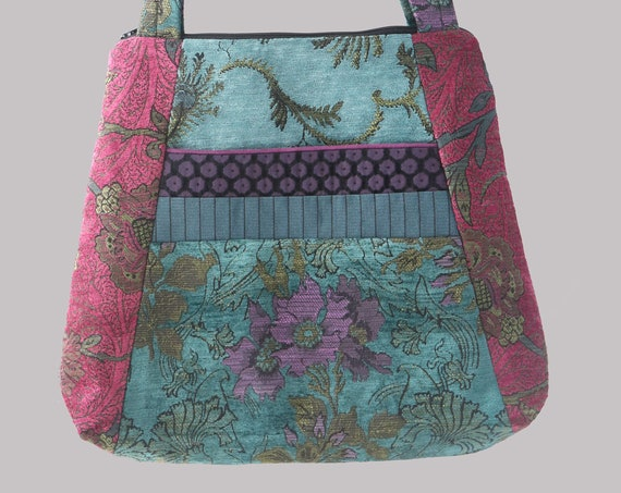 Bohemian Tapestry Tote Bag in Teal and Raspberry Floral Jacquard Upholstery Fabric Large