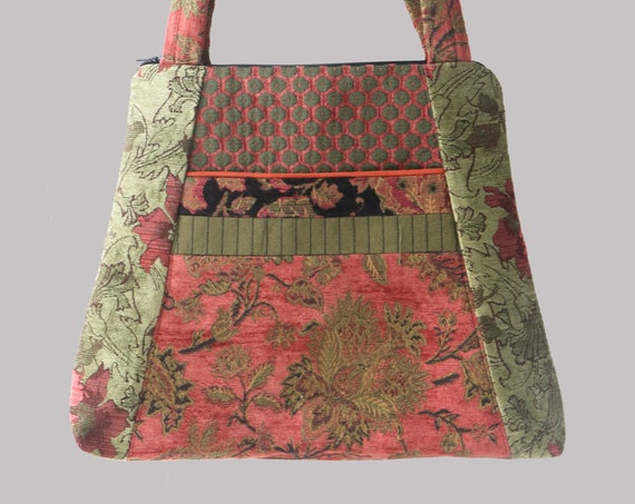 Tapestry Tote Bag in melon and Sage Jacquard Upholstery Fabric Large- One of a Kind!