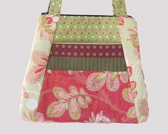 Tropical Lightweight Tapestry Tote Bag in Coral and Mint Floral Upholstery Fabric Large