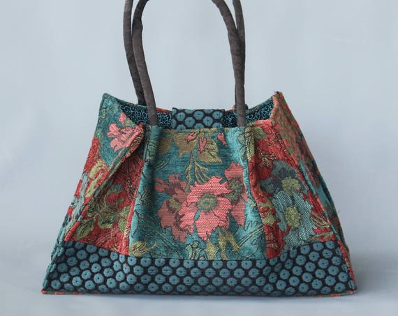 Zinnia Tapestry Shoulder Bag in Orange and Teal Floral Jacquard Woven Fabrics