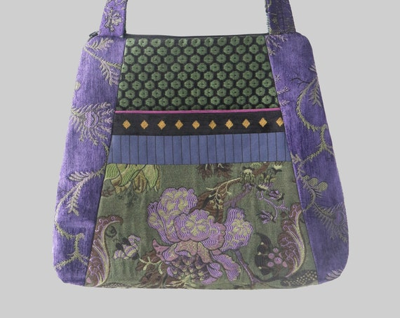 Forest Tapestry Tote Bag in Hunter Green and Purple Floral Upholstery Fabric Large