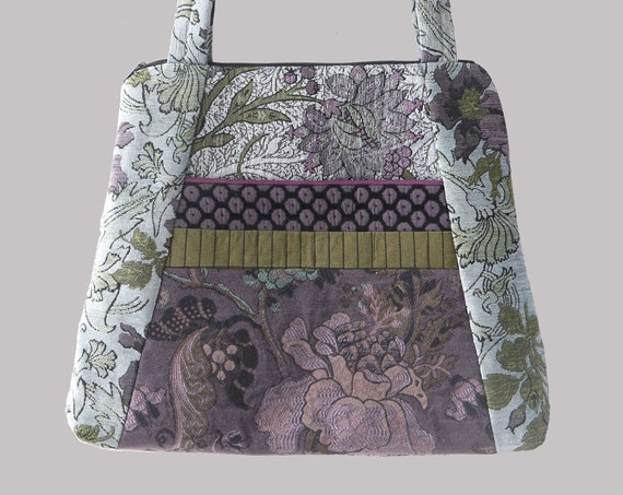 Silver Tapestry Tote Bag in Silver and Lavender Floral Upholstery Fabric Large