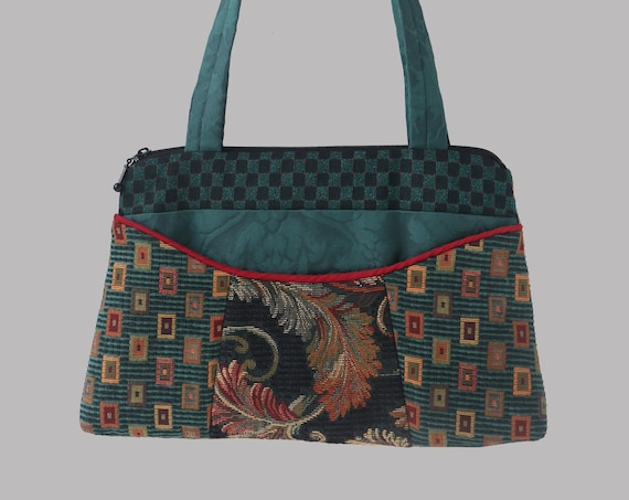 Teal Carnival Nancie Purse in Teal and Black Floral Jacquard Upholstery Fabric