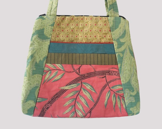 Frond Lightweight Tapestry Tote Bag in Coral and Green Floral Upholstery Fabric Large