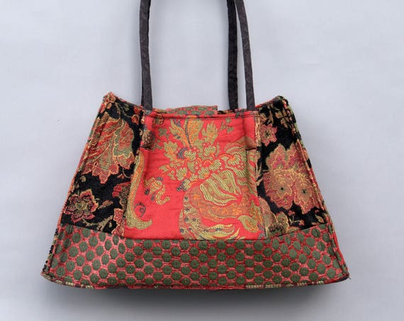 Amazon Tapestry Shoulder Bag in Orange and Green Floral Jacquard Woven Fabrics