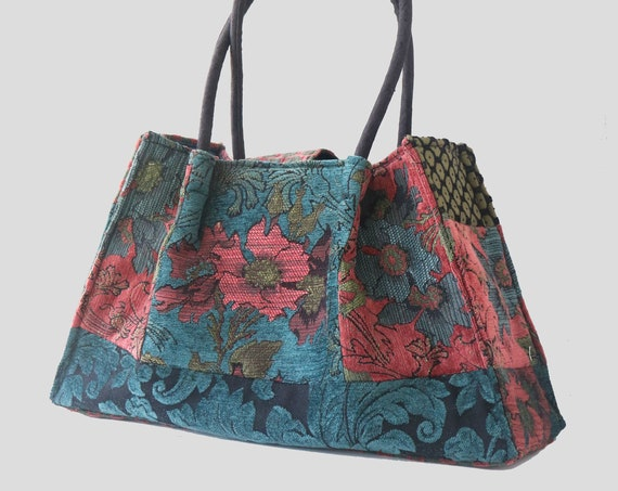 Zinnia Tapestry Shoulder Bag in Rust and Teal Floral Jacquard Woven Fabrics